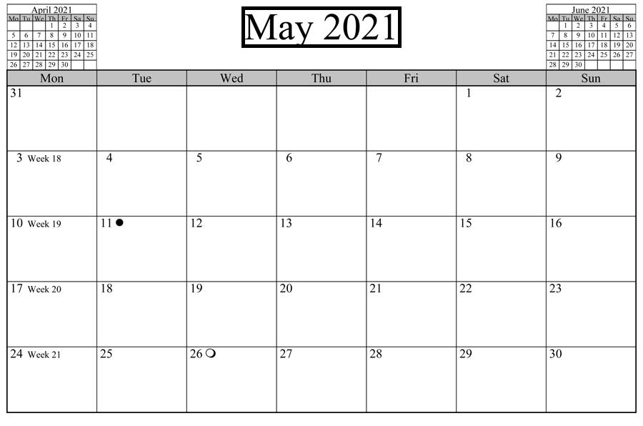 March April May 2021 Calendar Printable
