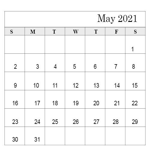 March April May 2021 Calendar