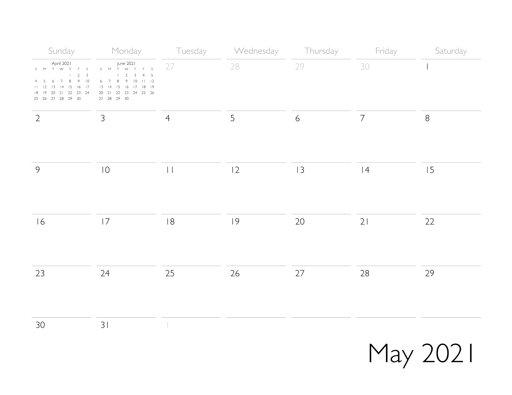 May 2021 Blank Calendar PDF