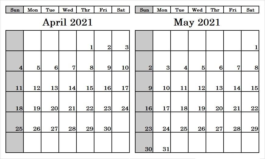 May 2021 Blank Calendar Template