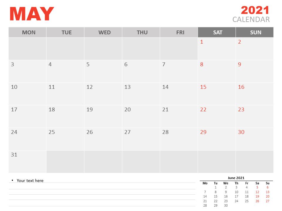 May 2021 Blank Calendar Word