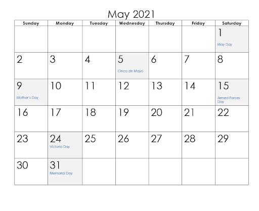 May 2021 Calendar PDF Template