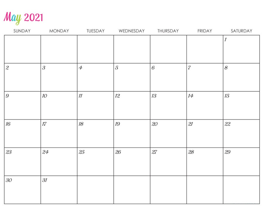 May 2021 Calendar Printable Blank Template