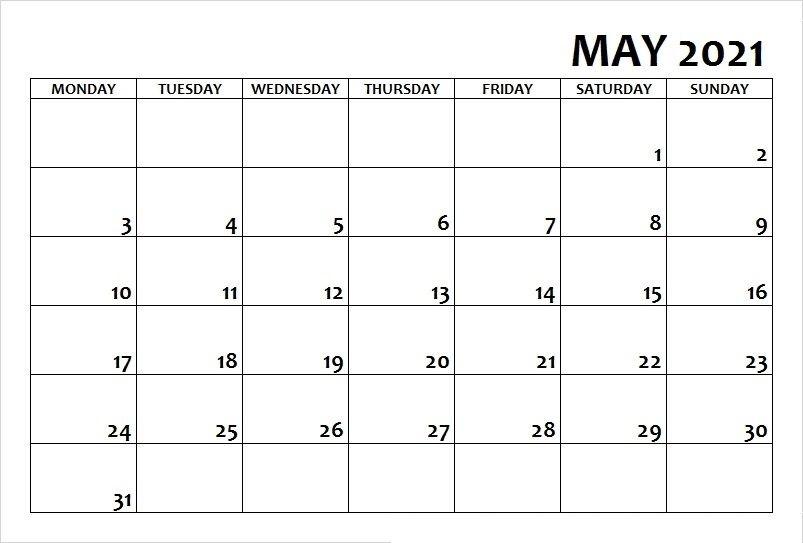 May 2021 Calendar Printable Free