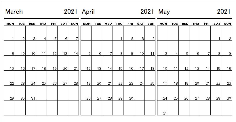 May 2021 Calendar Printable Starts Monday