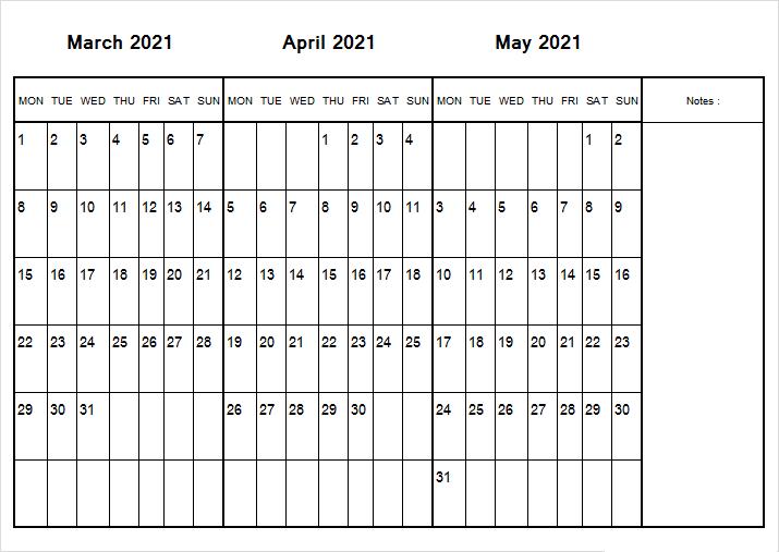 May 2021 Calendar Printable Weekly