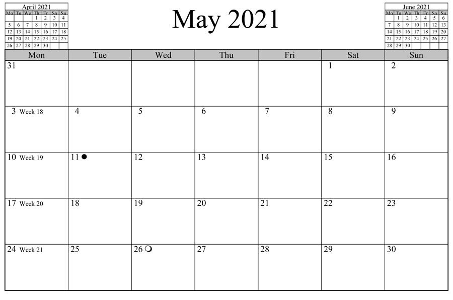 May 2021 Calendar Template Word