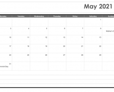 May 2021 Calendar Word Template