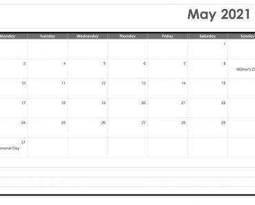May 2021 Calendar Word Template