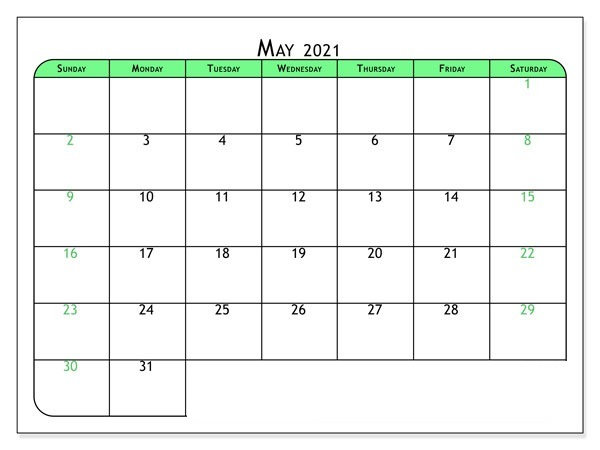 May 2021 Calendar with Holidays USA