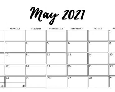 May 2021 Cute Calendar Template