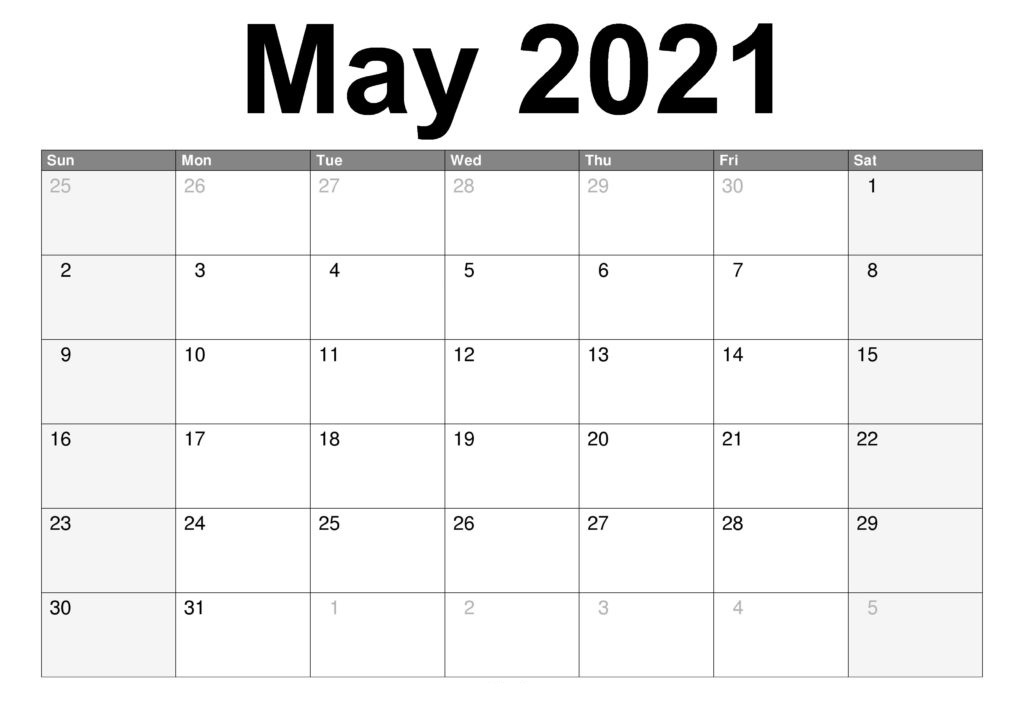May 2021 PDF Calendar Template