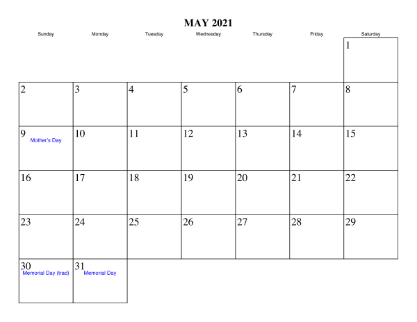 May 2021 Printable Calendar Monthly Weekly