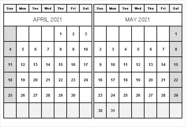 May 2021 Printable Calendar Page