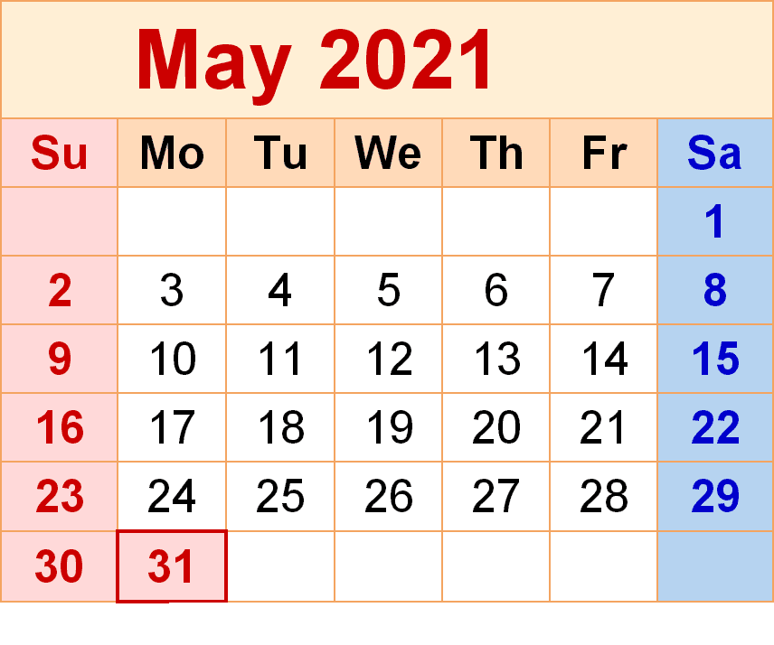 May 2021 Printable Calendar Vertex