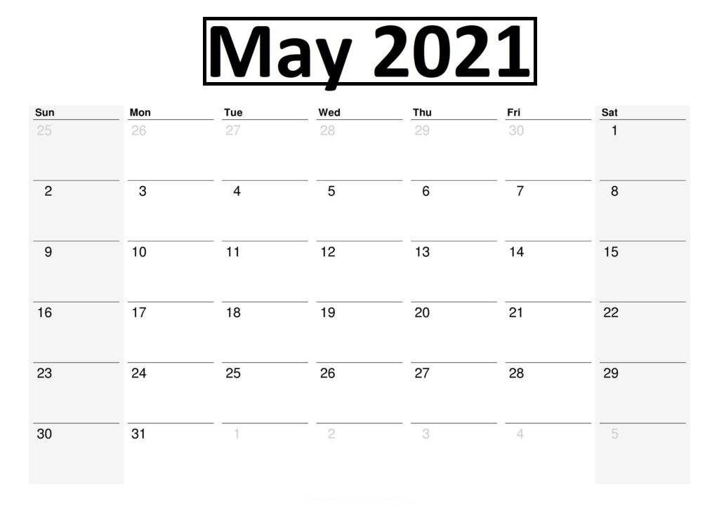 May 2021 Printable Calendar Word