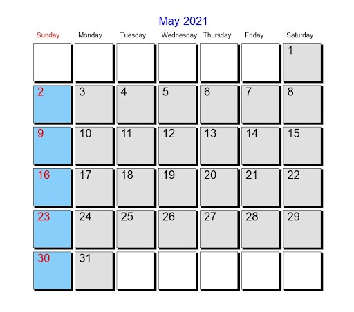 May 2021 Telugu Calendar India