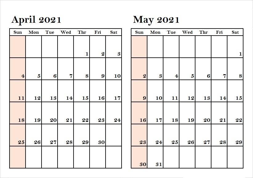 May 2021 Weekly Calendar Template