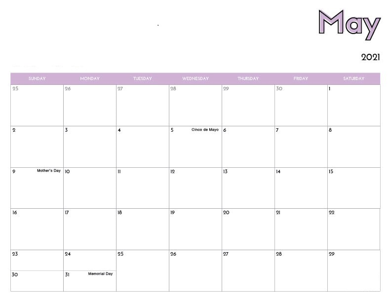May June July 2021 Calendar