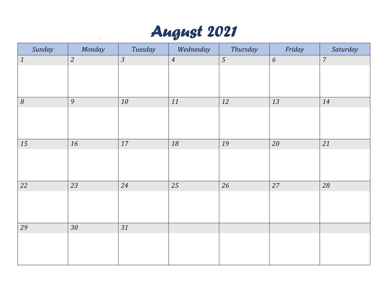 2021 August Calendar Printable Free
