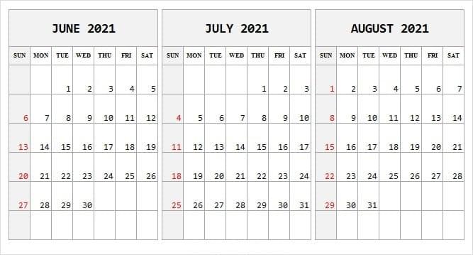 2021 August Calendar UK