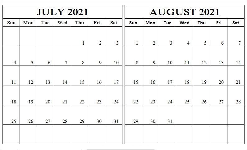 2021 August Calendar USA