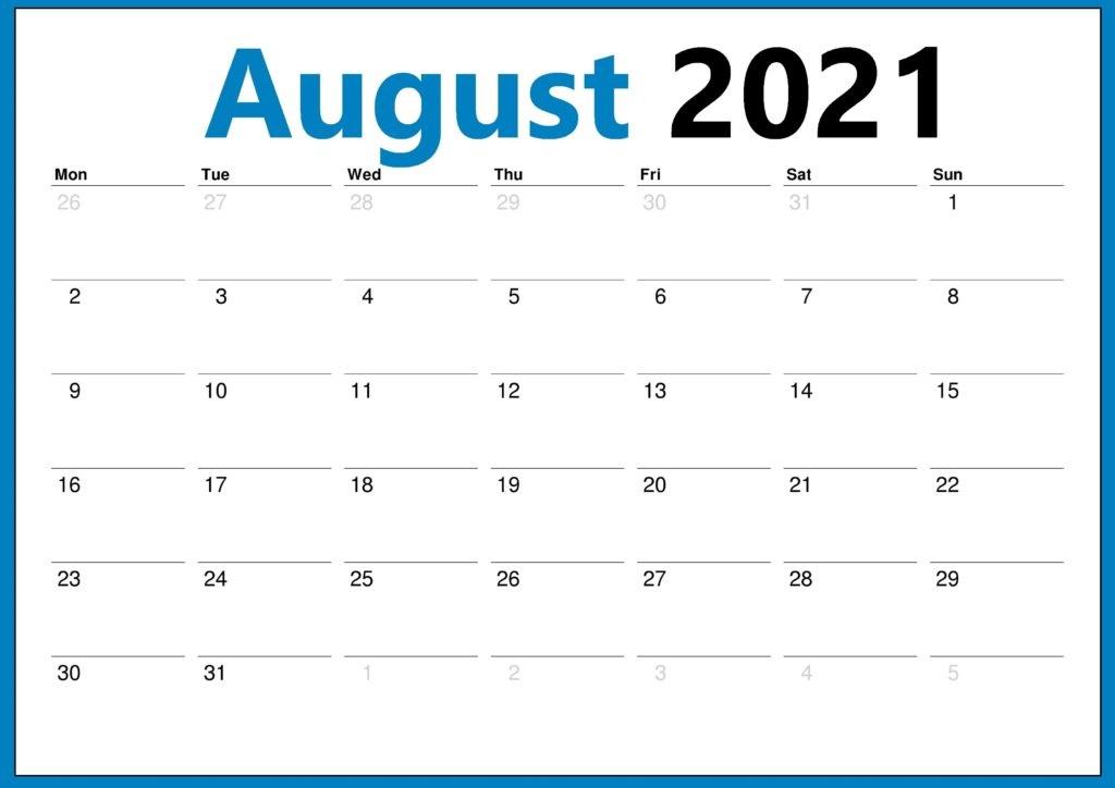 2021 August Calendar With Holidays