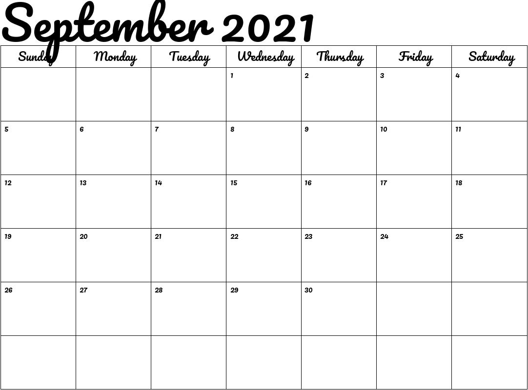 2021 Calendar Printable September