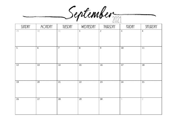 2021 Calendar September October