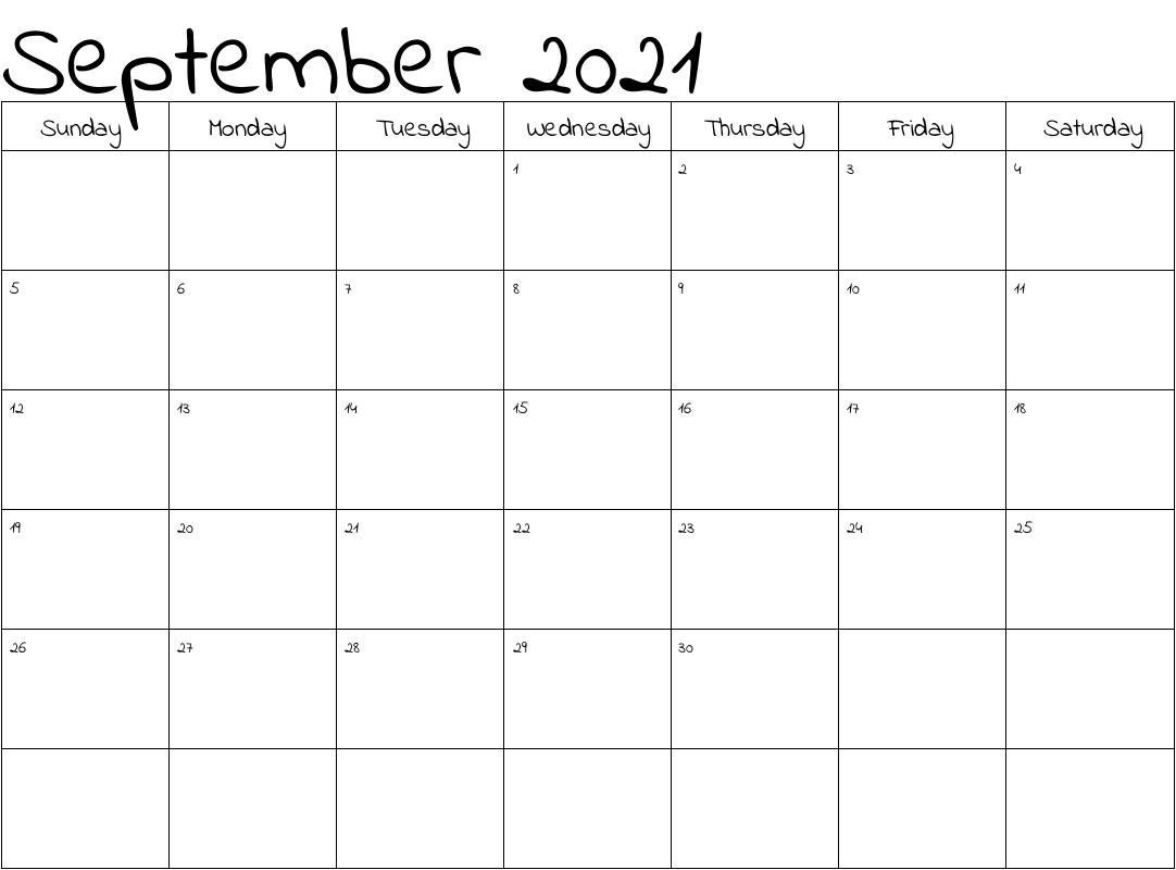 2021 Calendar September Printable