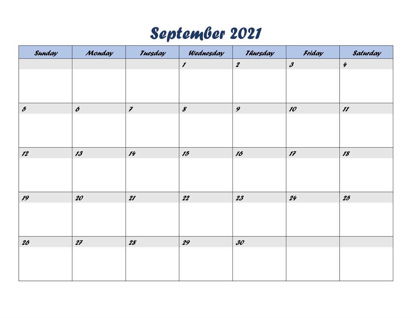 2021 Calendar September With Holidays