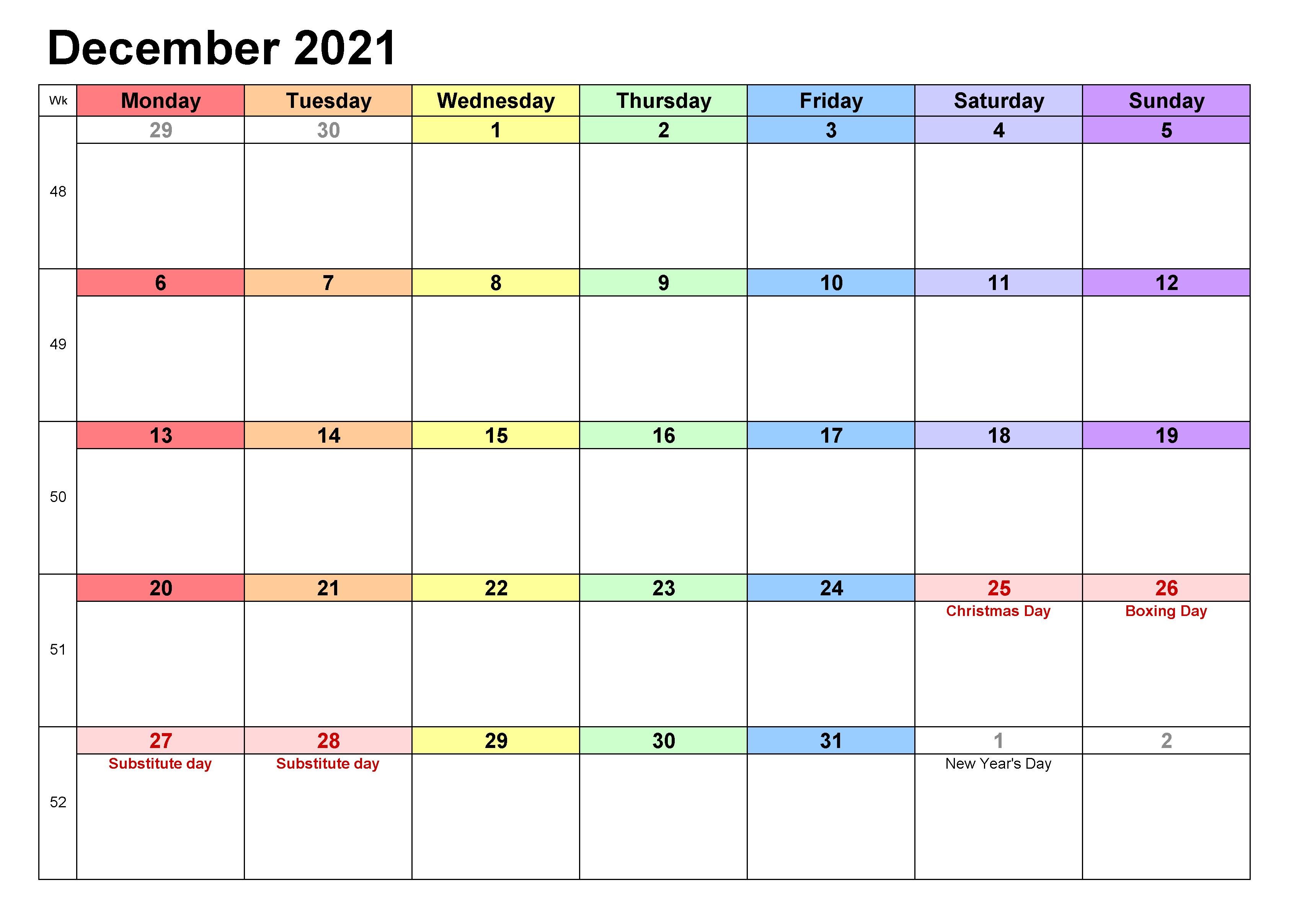 2021 December Calendar Excel