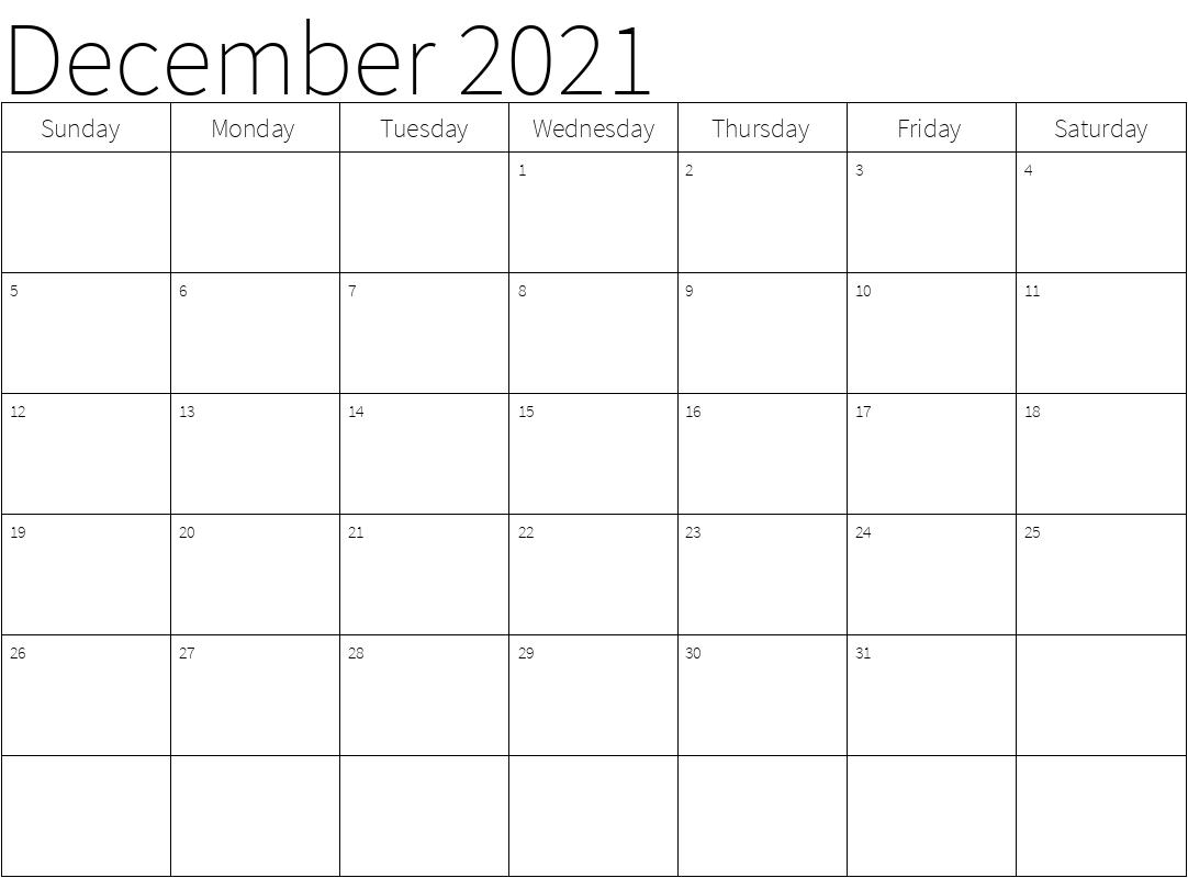 2021 December Calendar Month