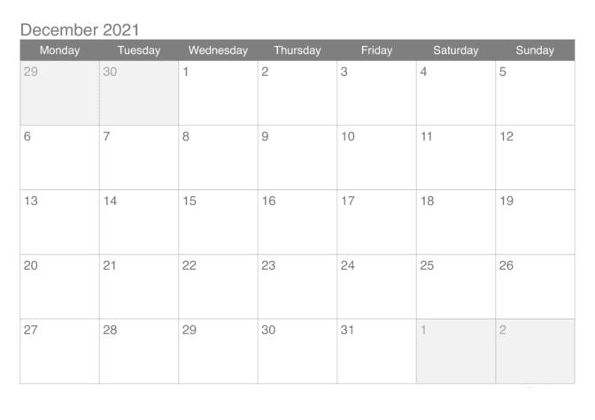 2021 December Calendar Tamil