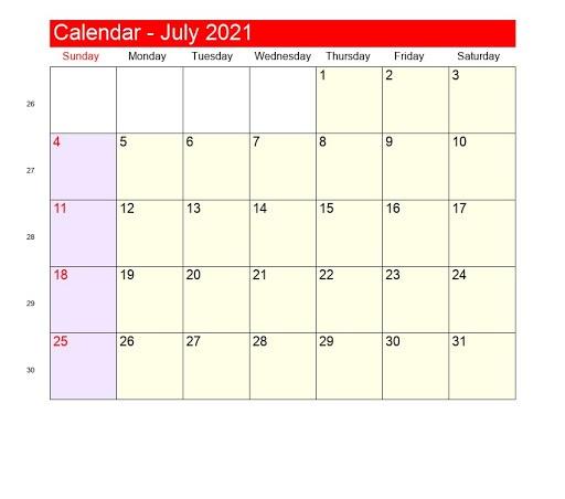 2021 July August Calendar