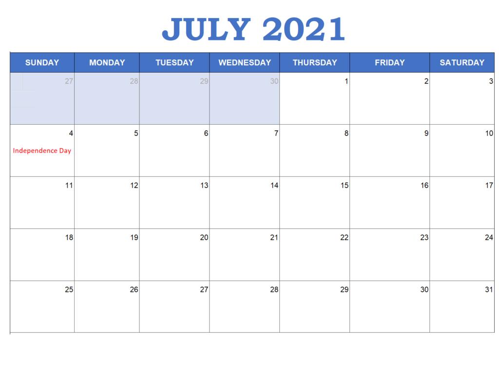 2021 July Calendar Canada