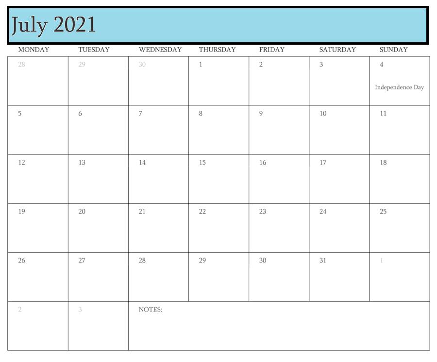 2021 July Calendar Free