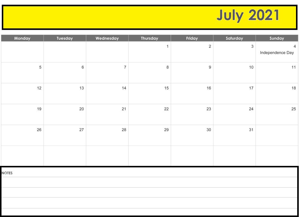 2021 July Calendar Printable