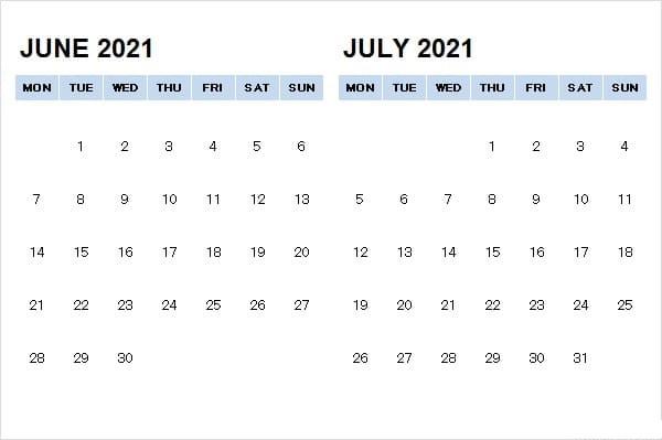 2021 July Calendar UK