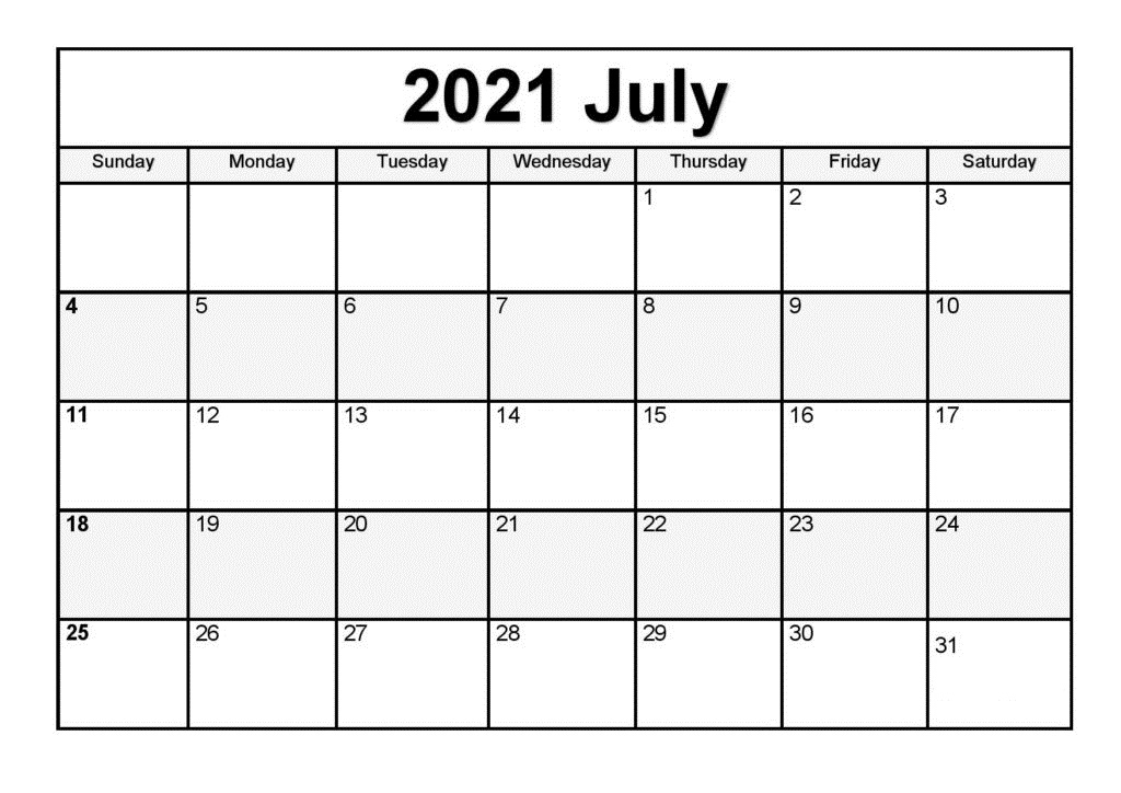 2021 July Calendar With Holidays