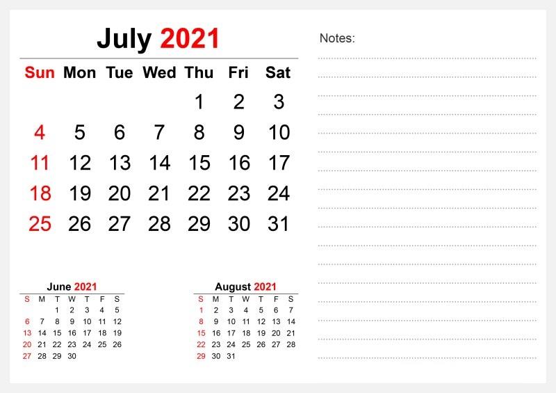 2021 July Calendar