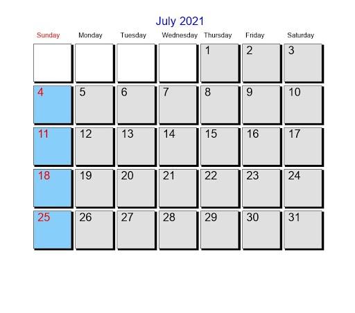 2021 July Lunar Calendar