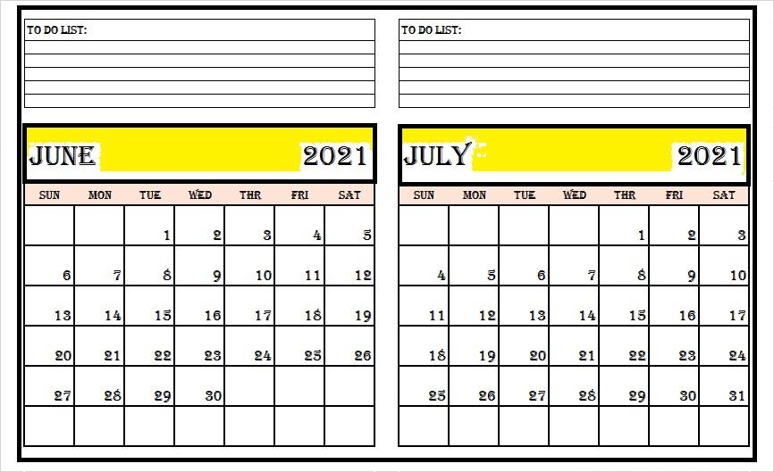 2021 July Month Calendar