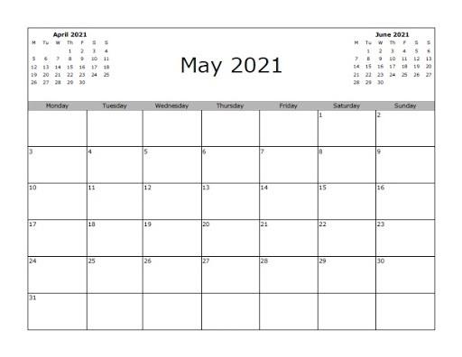 2021 June Calendar Excel