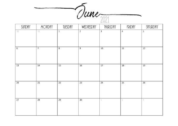 2021 June Calendar Odia