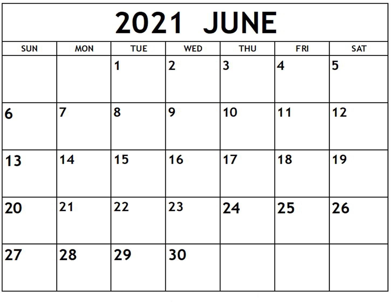 2021 June Calendar Printable
