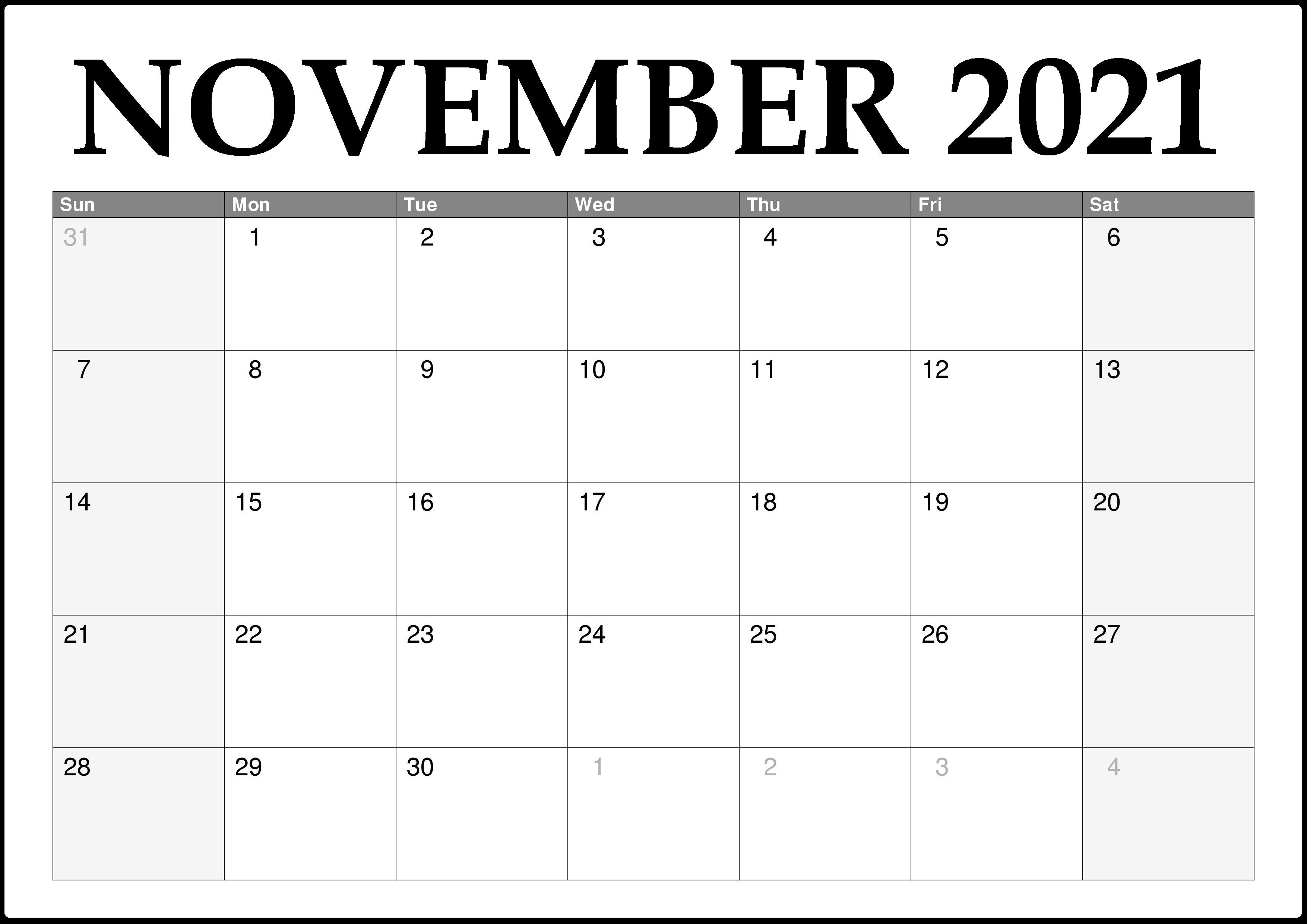2021 November Calendar Canada