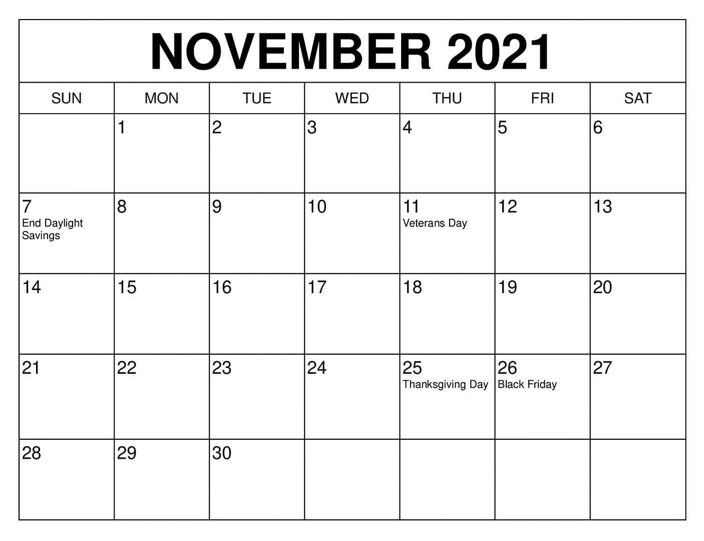 2021 November Calendar Kalnirnay