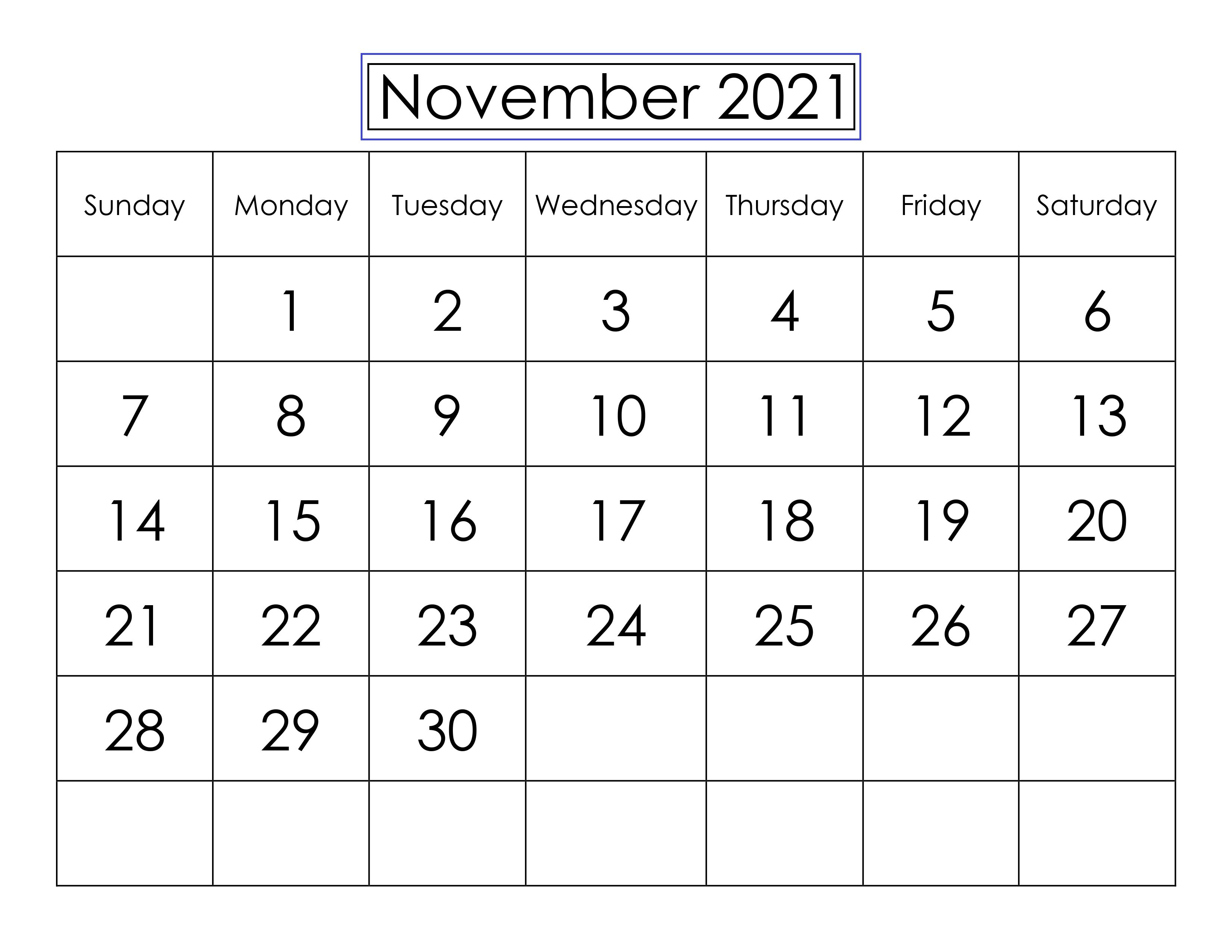 2021 November Calendar Telugu