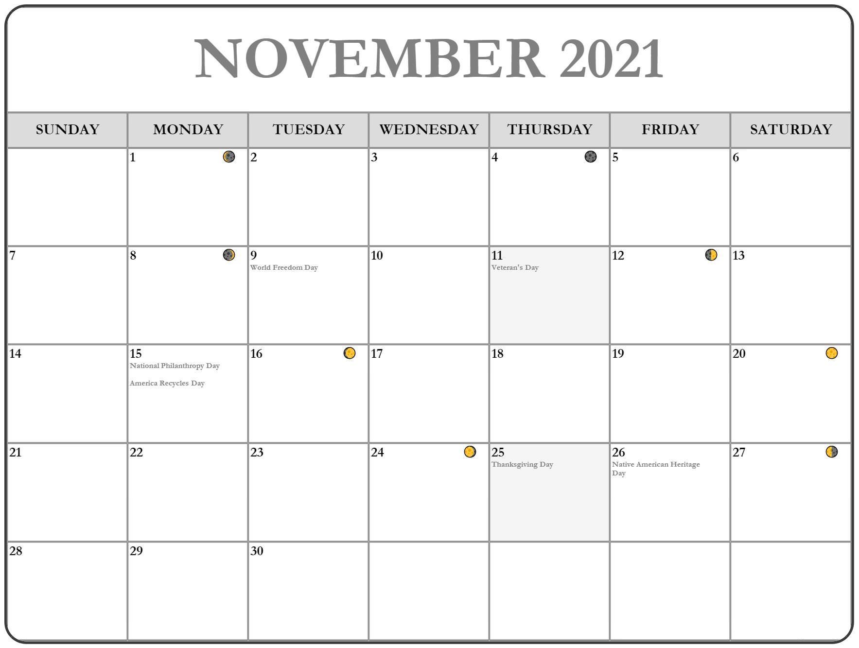 2021 November Calendar Thanksgiving